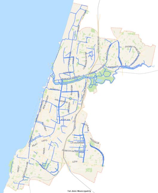מפת שבילי האופניים בתל אביב
