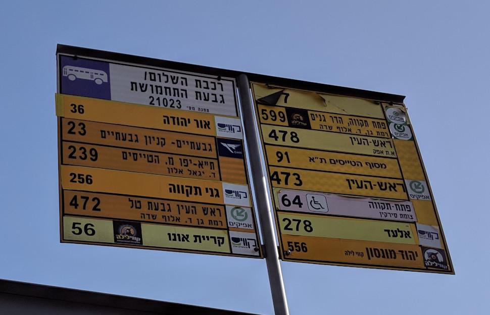 שלט תחנת אוטובוס טיפוסי