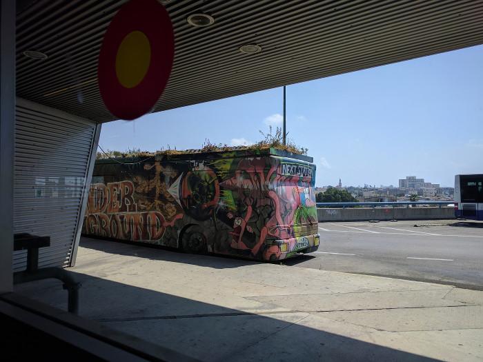 אוטובוס ישן עם גרפיטי וגינה על הגג