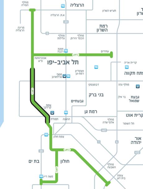 מפה סכמטית של הקו הירוק