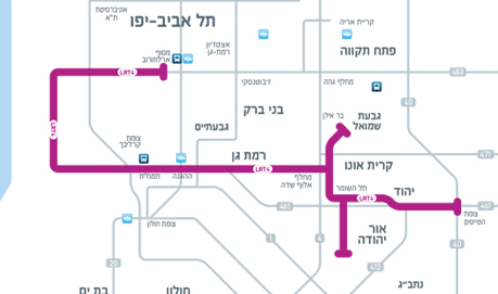מפה סכמטית של הקו הסגול
