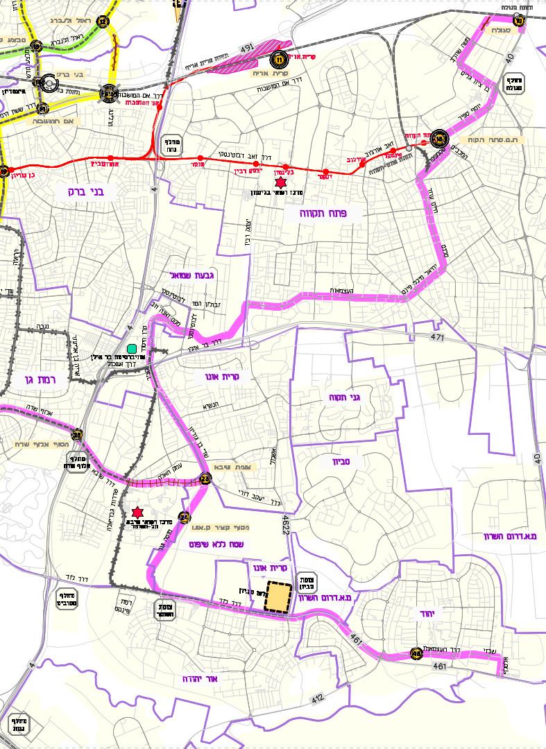 מפת התוכנית המקורית לקו הסגול