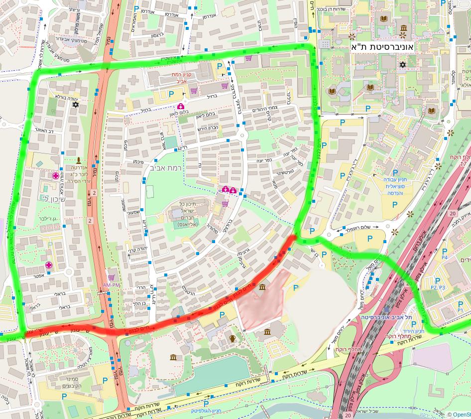 """מפה של התוכנית של נת""""ע לקו הירוק ברמת אביב בהשוואה להצעת התושבים"""